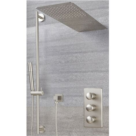 Milano Ashurst Triple Diverter Thermostatic Valve Two Outlet Head and Slide Rail Kit - Brushed Nickel