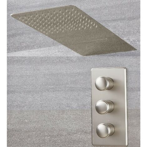 Milano Ashurst Triple Thermostatic Shower Valve with Two Outlet Shower Head - Brushed Nickel