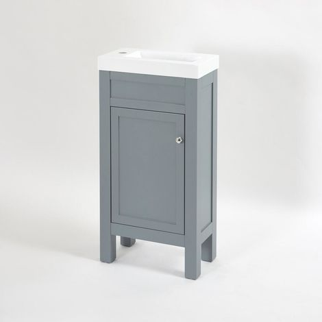 Milano Aston - Light Grey 440mm Traditional Bathroom Cloakroom Vanity Unit with Basin