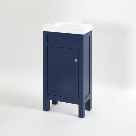 Milano Aston - Navy Blue 440mm Traditional Bathroom Cloakroom Vanity Unit with Basin