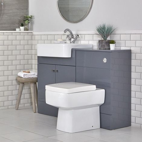 Milano Atticus - Grey 1167mm Bathroom Vanity Unit with Basin, Toilet WC Unit and Back to Wall Pan, Soft Close Seat and Dual Flush Cistern