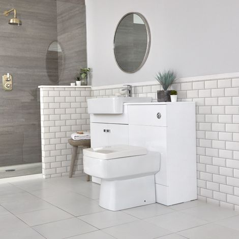 Milano Atticus - White 1167mm Bathroom Vanity Unit with Basin, Toilet WC Unit and Back to Wall Pan