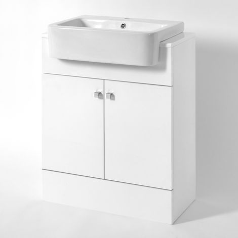 Milano Atticus - White 667mm Bathroom Vanity Unit with Basin