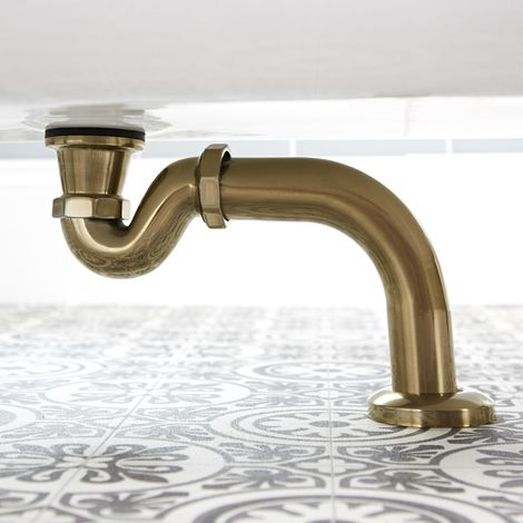 Milano Auro - Traditional Shallow Seal Bath Trap and Outlet Pipe - Brushed Gold