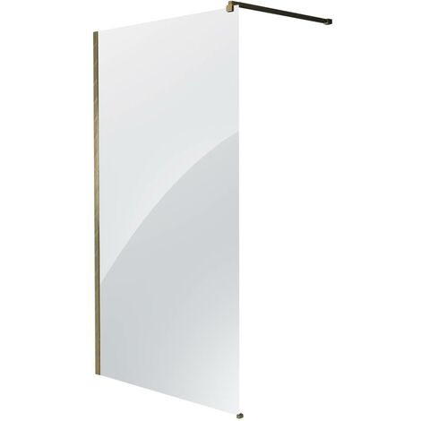 Milano Auro - Wet Room Shower Enclosure Screen  Profile and Support Arm - Brushed Gold