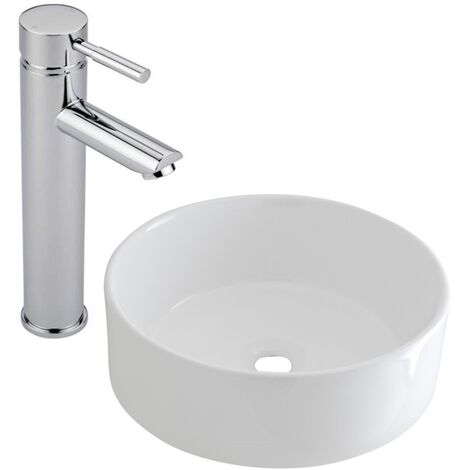 Milano Ballam - Modern White Ceramic 400mm Round Countertop Bathroom Basin Sink and High Rise Mono Basin Mixer Tap
