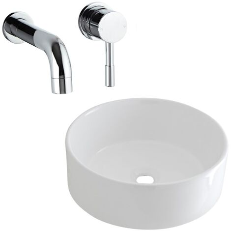 Milano Ballam - Modern White Ceramic 400mm Round Countertop Bathroom Basin Sink and Wall Mounted Basin Mixer Tap