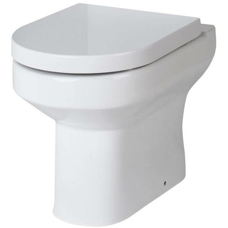 Milano Ballam - Modern White Ceramic Back to Wall Toilet Pan WC and Soft Close Seat