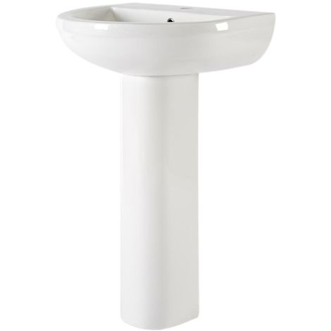 Milano Ballam - Modern White Ceramic Bathroom Basin Sink with Full Pedestal and One Tap Hole - 500mm x 416mm x 823mm