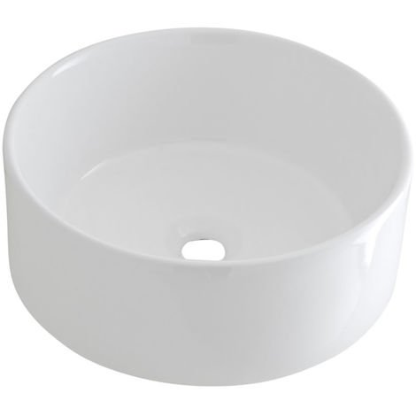 Milano Ballam - Modern White Ceramic Round Countertop Bathroom Basin Sink - 400mm