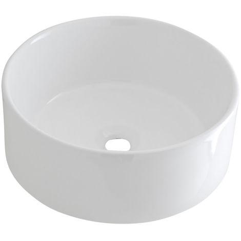 Milano Ballam Round White Ceramic Counter Top Basin - 400 mm