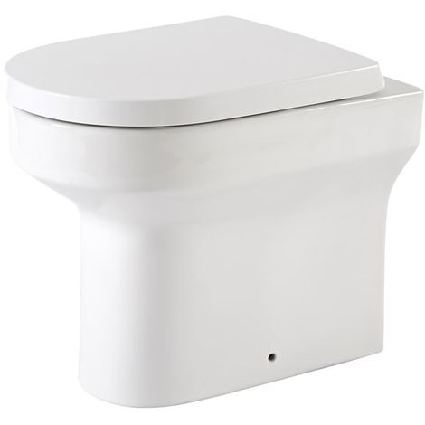 Milano Ballam - White Ceramic Modern Back to Wall Toilet Pan WC and Soft Close Seat