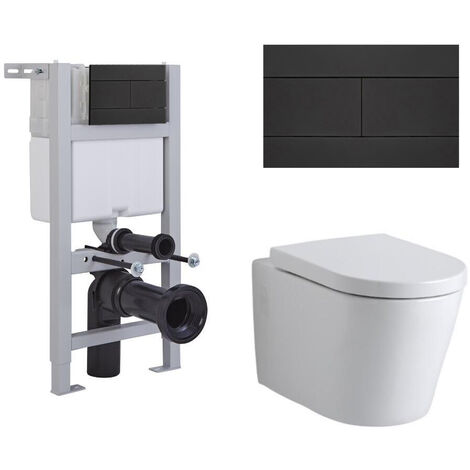Milano Ballam - White Ceramic Modern Bathroom Wall Hung Round Toilet WC with Short Wall Frame Cistern and Flush Plate