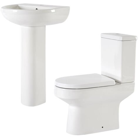 Milano Ballam - White Modern Bathroom Ceramic Close Coupled Toilet WC and Full Pedestal Bathroom Basin Sink with One Tap Hole