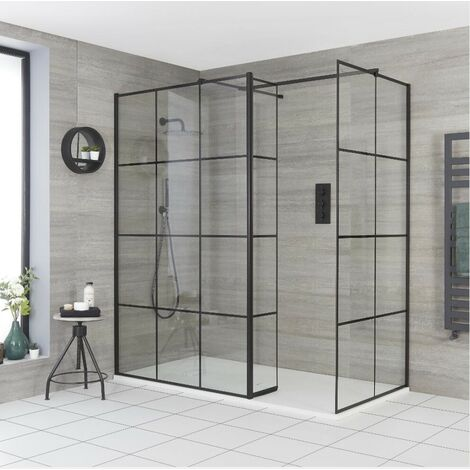 Milano Barq - Corner Walk In Wet Room Shower Enclosure with Grid Pattern Screens  Hinged Return Panel  Support Arms and White Slate Effect Tray - Black