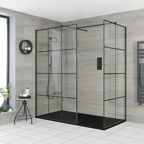 Milano Barq - Corner Walk In Wet Room Shower Enclosure with Grid Pattern Screens  Support Arms and Graphite Slate Effect Tray - Black