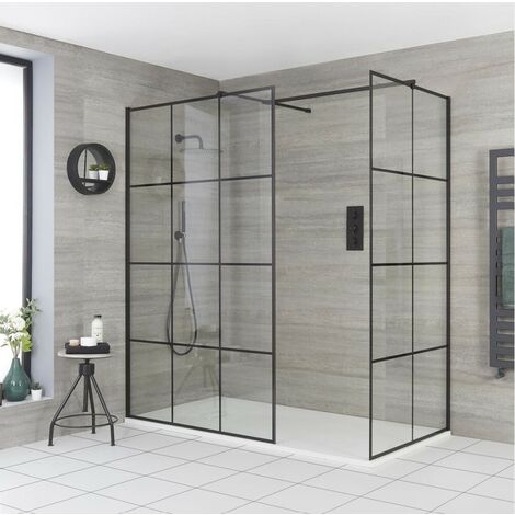 Milano Barq - Corner Walk In Wet Room Shower Enclosure with Grid Pattern Screens  Support Arms and White Slate Effect Tray - Black