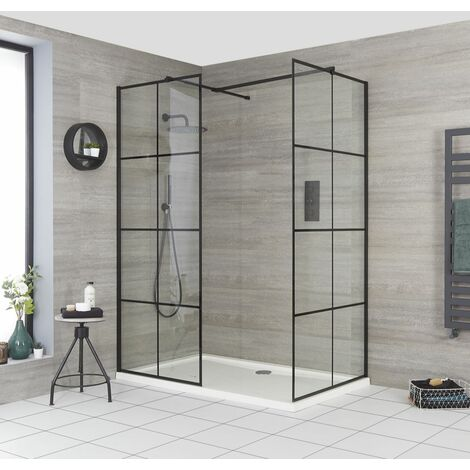 Milano Barq - Corner Walk In Wet Room Shower Enclosure with Grid Pattern Screens  Support Arms and White Tray - Black