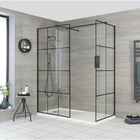 Milano Barq - Corner Walk In Wet Room Shower Enclosure with Grid Pattern Screens  Support Arms and White Tray with Drying Area - Black