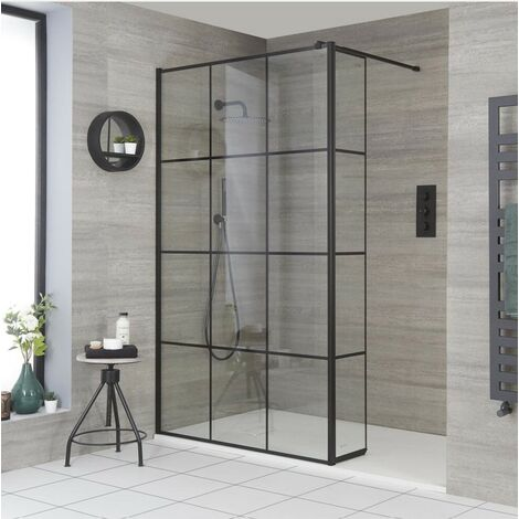 Milano Barq - Recessed Walk In Wet Room Shower Enclosure with Grid Pattern Screen  Hinged Return Panel  Support Arm and Graphite Slate Effect Tray - Black