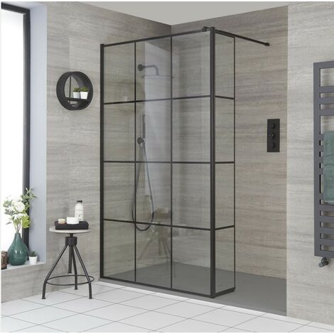Milano Barq - Recessed Walk In Wet Room Shower Enclosure with Grid Pattern Screen  Hinged Return Panel  Support Arm and Light Grey Slate Effect Tray - Black