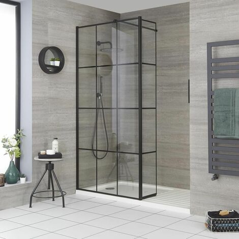 Milano Barq - Recessed Walk In Wet Room Shower Enclosure with Grid Pattern Screen  Hinged Return Panel  Support Arm and White Tray - Black