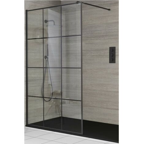 Milano Barq - Recessed Walk In Wet Room Shower Enclosure with Grid Pattern Screen  Support Arm and Graphite Slate Effect Tray - Black