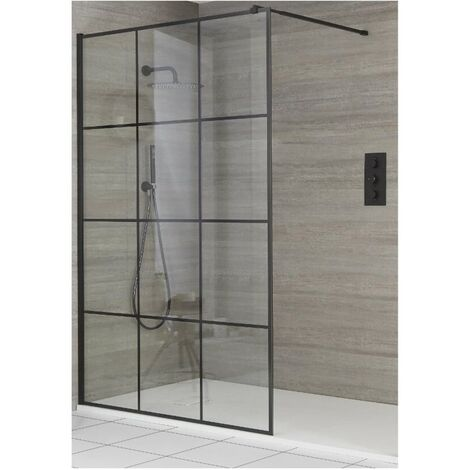 Milano Barq - Recessed Walk In Wet Room Shower Enclosure with Grid Pattern Screen  Support Arm and White Slate Effect Tray - Black