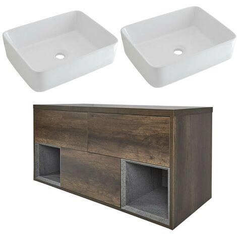 Milano Bexley – Dark Oak 1200mm Bathroom Vanity Unit with 2 Rectangular Countertop Basins - with LED Light