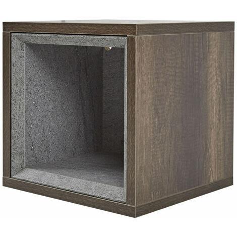 Milano Bexley - Dark Oak 300mm Wall Hung Bathroom Cube Storage Unit & LED Option