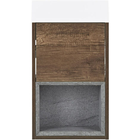 Milano Bexley - Dark Oak 400mm Bathroom Wall Hung Cloakroom Vanity Unit with Basin & LED Option