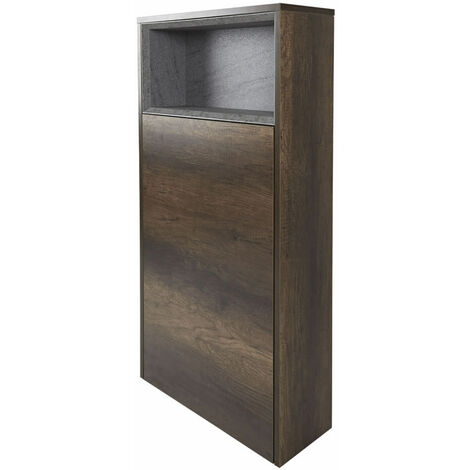 Milano Bexley - Dark Oak 600mm Floor Standing Open Shelf Bathroom Toilet WC Unit & LED Option