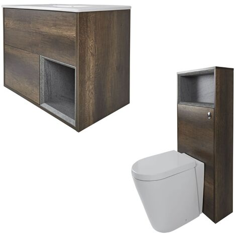 Milano Bexley - Dark Oak 610mm Bathroom Vanity Unit with Basin  Toilet WC Unit and Back to Wall Pan & LED Option