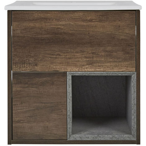 Milano Bexley – Dark Oak 610mm Bathroom Vanity Unit with Basin - with LED Light