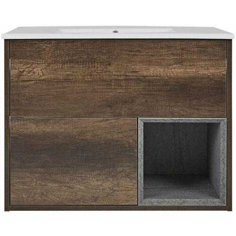 Milano Bexley – Dark Oak 810mm Bathroom Vanity Unit with Basin