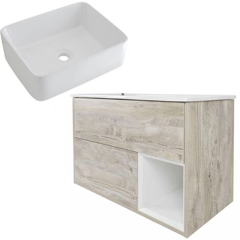 Milano Bexley – Light Oak 1000mm Bathroom Vanity Unit with Rectangular Countertop Basin - with LED Light