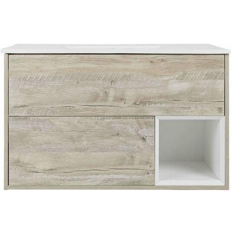 Milano Bexley – Light Oak 1010mm Bathroom Vanity Unit with Basin - with LED Light