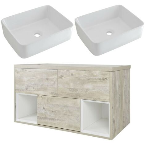 Milano Bexley – Light Oak 1200mm Bathroom Vanity Unit with 2 Rectangular Countertop Basins - with LED Light