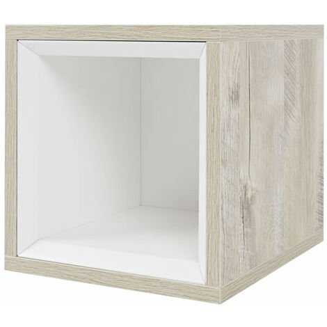 Milano Bexley - Light Oak 300mm Wall Hung Bathroom Cube Storage Unit & LED Option