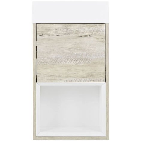 Milano Bexley - Light Oak 400mm Bathroom Wall Hung Cloakroom Vanity Unit with Basin & LED Option