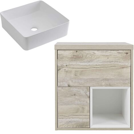 Milano Bexley – Light Oak 600mm Bathroom Vanity Unit with Square Countertop Basin - with LED Light