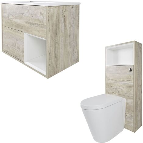 Milano Bexley - Light Oak 610mm Bathroom Vanity Unit with Basin  Toilet WC Unit and Back to Wall Pan & LED Option
