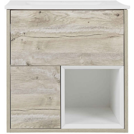 Milano Bexley – Light Oak 610mm Bathroom Vanity Unit with Basin - with LED Light