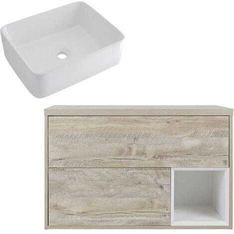Milano Bexley – Light Oak 800mm Bathroom Vanity Unit with Rectangular Countertop Basin - with LED Light