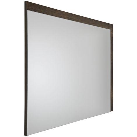 Milano Bexley - Modern 1000mm x 750mm Wall Hung Bathroom Mirror with Dark Oak Frame