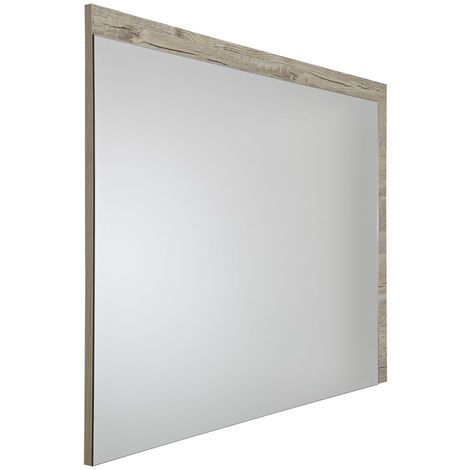 Milano Bexley - Modern 1000mm x 750mm Wall Hung Bathroom Mirror with Light Oak Frame