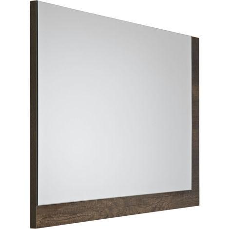 Milano Bexley - Modern 700mm x 500mm Wall Hung Bathroom Mirror with Dark Oak Frame