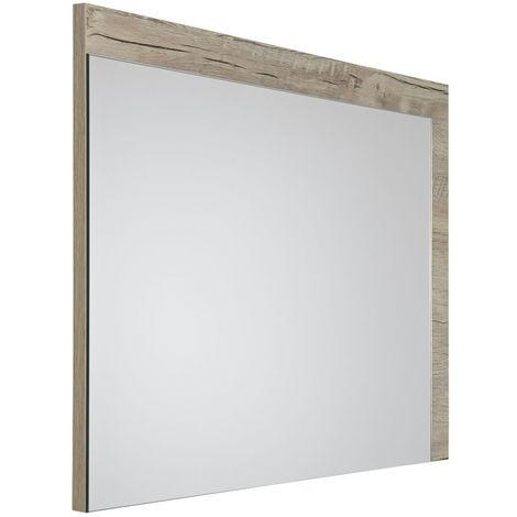 Milano Bexley - Modern 700mm x 500mm Wall Hung Bathroom Mirror with Light Oak Frame