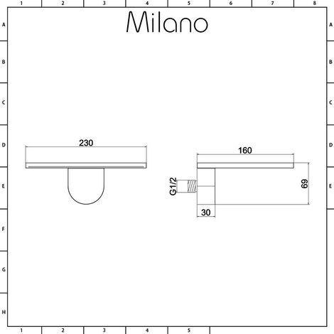 Milano Blade - Modern Wall Mounted Waterfall Bath Filler Spout or Shower Head - Chrome