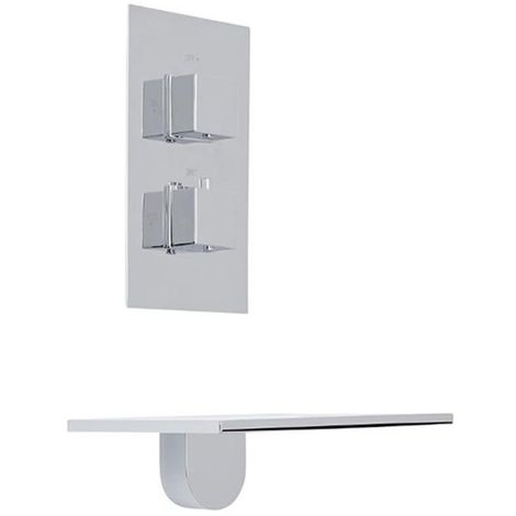 Milano Blade - Modern Wall Mounted Waterfall Bath Filler Tap and Twin Thermostatic Mixer Shower Valve - Chrome